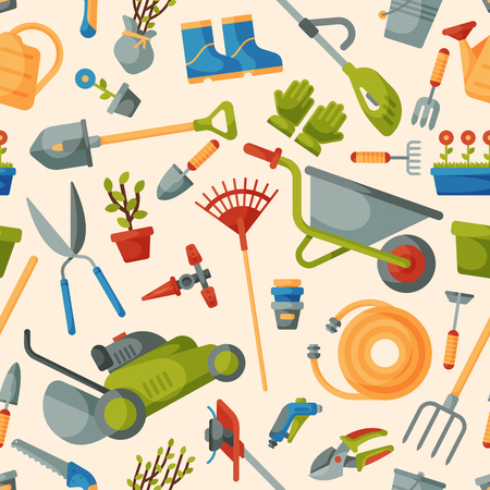 Garden tool vector gardening equipment rake or shovel and lawnmower of gardener farm collection or farming set illustration seamless pattern background. Illustration
