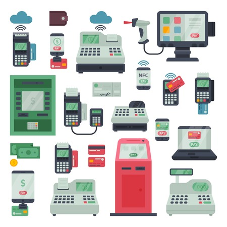 Terminal bankowy pos z maszyną płatniczą i system bankowy ATM do płatności kartą kredytową za pomocą czytnika kart lub kasy fiskalnej w sklepie ilustracja na białym tle