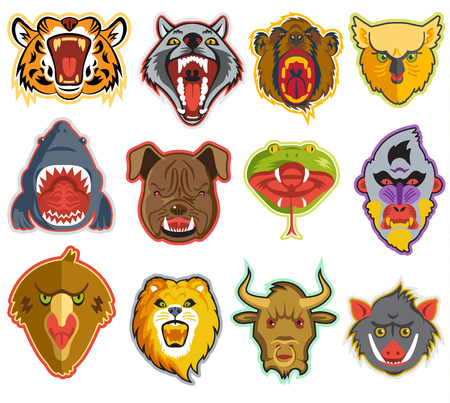 Animals portrait vector heads of roaring animals angry lion bear and aggressive wolf with teeth in open mouth illustration set of animalistic beast isolated on white background. Illustration
