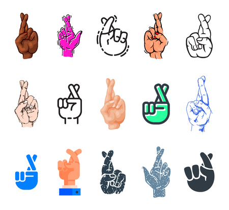 Crossed fingers vector fingered sign of human hand and symbol of luck or lie illustration fingering set isolated on white background