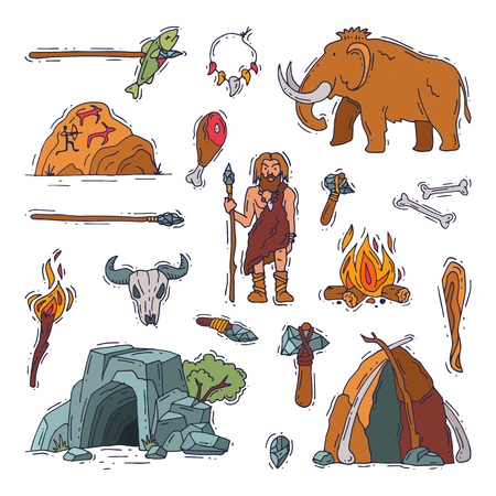 Primitive people vector primeval neanderthal character and ancient caveman fire in stone age cave illustration prehistoric man with stoned weapon and mammoth set isolated on white background