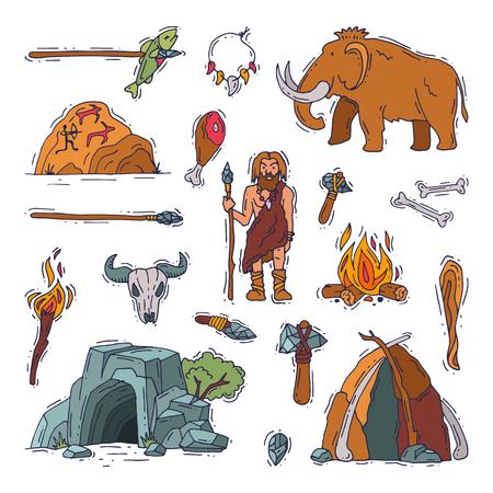 Les gens primitifs vecteur caractère néandertalien primitif et ancien homme des cavernes feu dans l'âge de pierre grotte illustration homme préhistorique avec arme lapidé et mammouth set isolé sur fond blanc Vecteurs