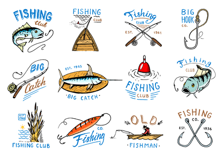 Fishing logo vector fishery logotype with fisherman in boat and emblem with catched fish on fishingrod illustration set for fishingclub isolated on white background