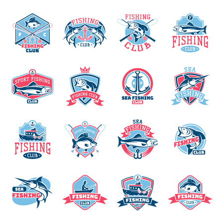 Fishing logo vector fishery logotype with fisherman in boat and emblem with fished fish for fishingclub illustration set isolated on white background Vettoriali