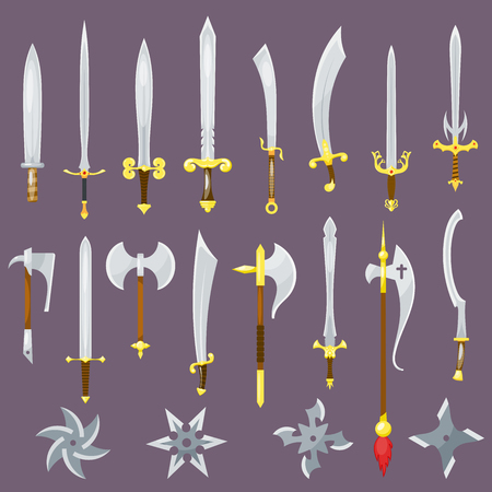 Sword medieval weapon of knight with sharp blade and pirates knife illustration broadsword set isolated on background.