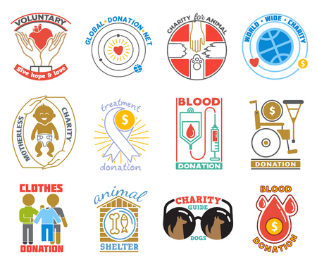 Charity or donation icon vector donator donating blood charitably illustration charitable activity of donated volunteers set isolated on white background