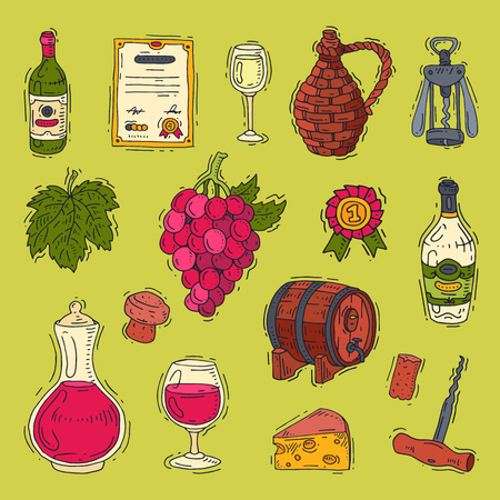 Wine vector alcohol in winebottles of winery and wineglass with grape or grapevine illustration.