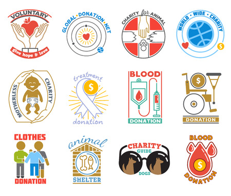 Charity or donation logo vector donator donating blood charitably logotype illustration charitable activity of donated volunteers set isolated on white background