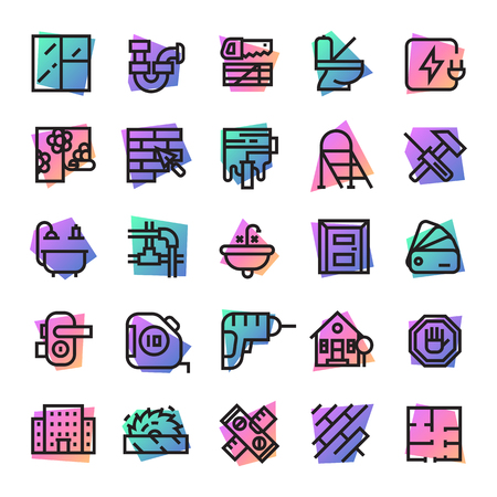 Construction icons vector builder tools for building and repair house illustration. Stok Fotoğraf - 95559640