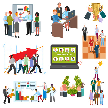 Business people, groups sitting in conference room  vector illustration. Stockfoto - 95691374