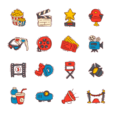 Movie cinema icons, vector moviemaking creator. hand drawn sketch style iconic symbols Vector illustration.