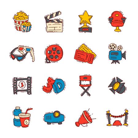 Movie cinema icons, vector moviemaking creator. hand drawn sketch style iconic symbols Vector illustration. Imagens - 95691375