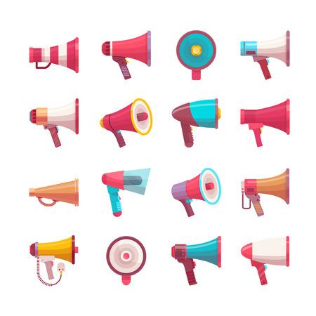 Lautstärkeregler-Megaphon der Vektormegatelefonstimme sprechende Illustration der flachen Stimme unterschiedliche vorbildliche Megagröße und Volumen