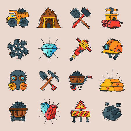 Coal vector mining engineering industry work business construction factory line mine icons illustration with moning icons like truck, coal, miner tools