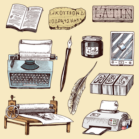 Book-printing typography writer author vector publishing house history hand drawn typewriter work books industry tools pen, print machine, feather, letters equipment illustration Banque d'images - 95691380