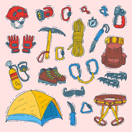 Climbing vector climbers equipment helmet carabiner and axe to climb in mountains illustration sot of mountaineering or alpinism tools for mountaineers isolated on background