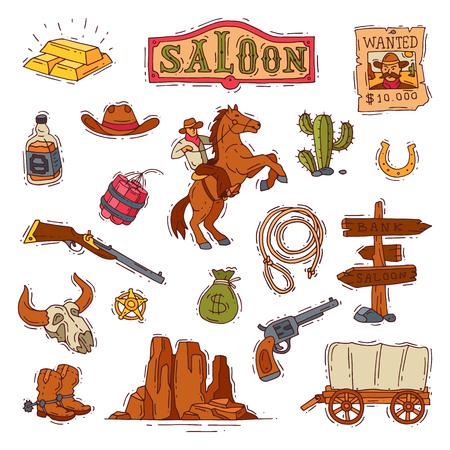Salvaje oeste vector occidental vaquero o sheriff en desierto de vida silvestre con ilustración de cactus carácter salvajemente en sombrero con pistola en rodeo conjunto aislado sobre fondo blanco Ilustración de vector