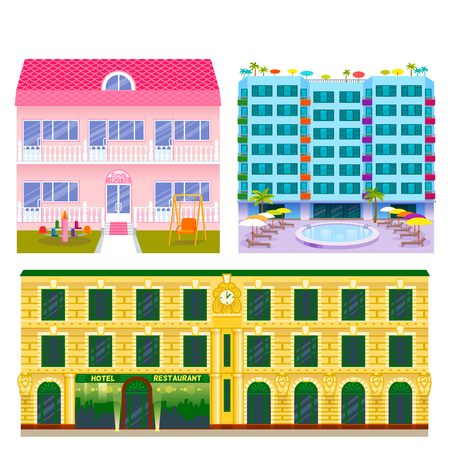 Set of different colored buildings, vector illustration.