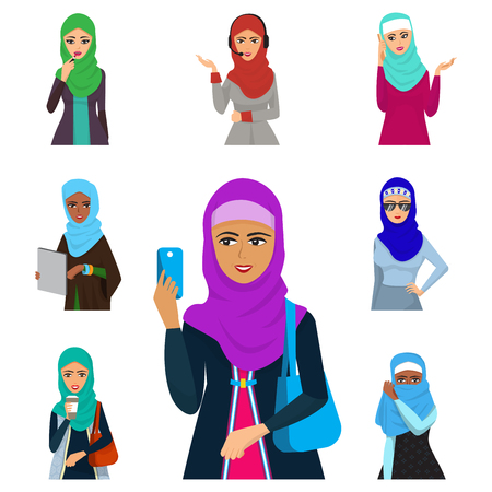 Arabic women adult characters vector illustration set