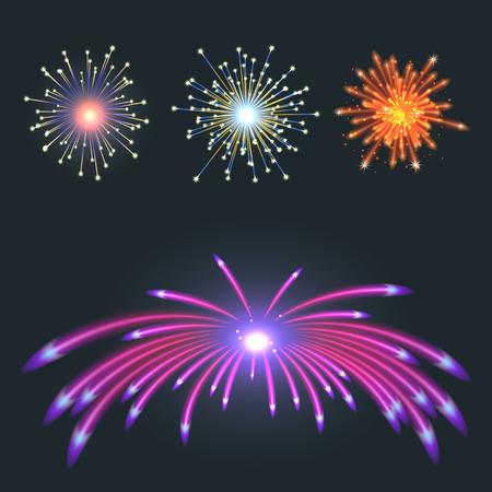 Fireworks vector illustration on black background.
