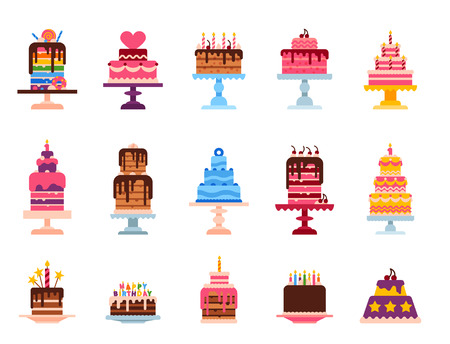 Wedding or Birthday pie cakes flat sweets dessert bakery ceremony delicious vector illustration.