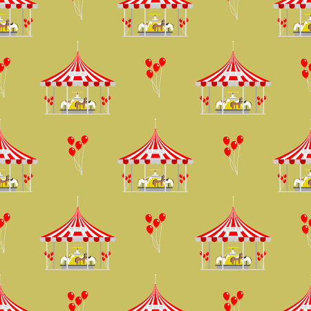 Circus show entertainment tent marquee outdoor festival seamless pattern with stripes and flags carnival