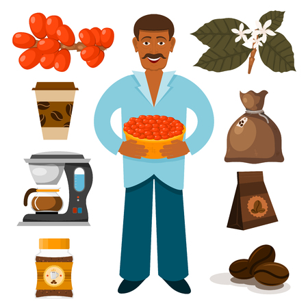 Coffee plantation beans drink cafe coffee-bean cocoa farmer plantation coffeemaker vector illustration Çizim