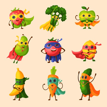 Superhero fruits vector fruity cartoon character of super hero expression vegetables with funny apple banana or pepper in mask illustration fruitful vegetarian diet set isolated on white background Ilustração