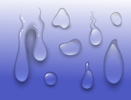 Realistic vector water splash drops, liquid transparent raindrop. 3d realistic wave blue illustration.