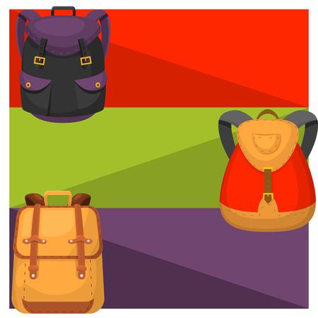 Back to School kids backpack banner vector illustration. Work time education, baggage, rucksack learning luggage.