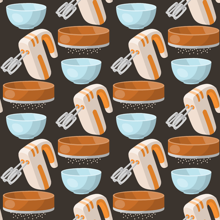 Baking pastry prepare cooking ingredients kitchen utensils homemade food preparation baker seamless pattern background vector illustration. Illustration