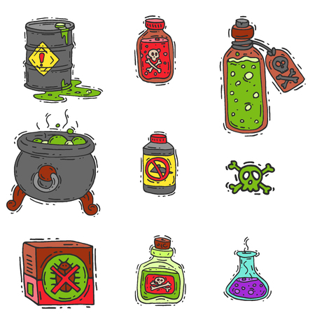 Bottle with potion game magic glass elixir poisoning toxic substance dangerous toxin drug container vector illustration Illustration