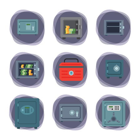 Money safe steel vault door finance business concept safety business box cash secure protection deposit vector illustration. 向量圖像