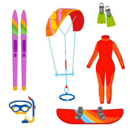 Fun water extreme sport kite boarding surfer sailing leisure sea activity summer recreation extreme vector illustration.