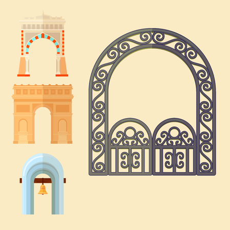 Arch design architecture construction frame classic, column structure gate door facade and gateway building ancient construction vector illustration. Stock fotó - 95903450