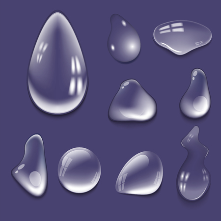 Realistic pure and transparent water drops set vector illustration wet light abstract macro fresh bubble.