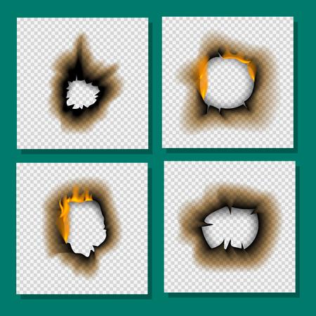 Het gebrande stuk brandde langzaam verdwenen document gat realistische brandvlam geïsoleerde paginablad gescheurde as vectorillustratie Stockfoto - 95903452