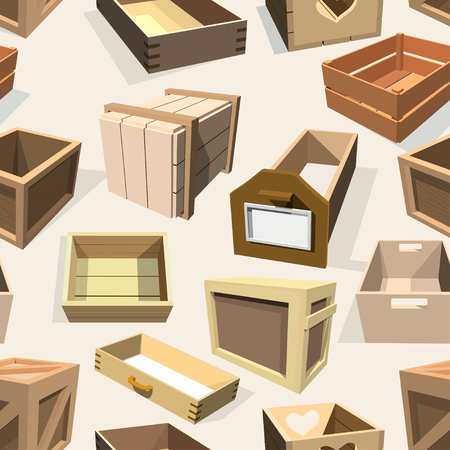 Box package vector wooden empty drawers and packed boxes or packaging crates with wood crated containers for delivery or shipping set illustration seamless pattern background Illustration