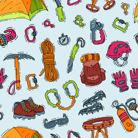 Climbing vector illustration. Climbers equipment, helmet, carabiner and ax to climb in mountains. Illustration set of mountaineering or alpinism tools for mountaineers, seamless pattern background.
