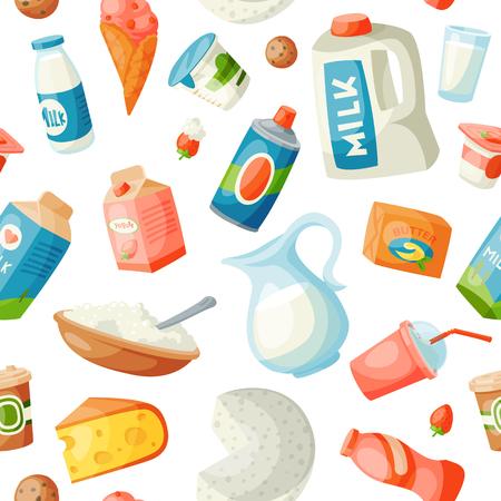 Productos lácteos de vector de productos lácteos de leche en estilo plano desayuno lácteo gourmet comida orgánica dieta fresca comida bebida láctea ingrediente nutrición ilustración. Tarro de leche de calcio comestibles sin fisuras de fondo Ilustración de vector