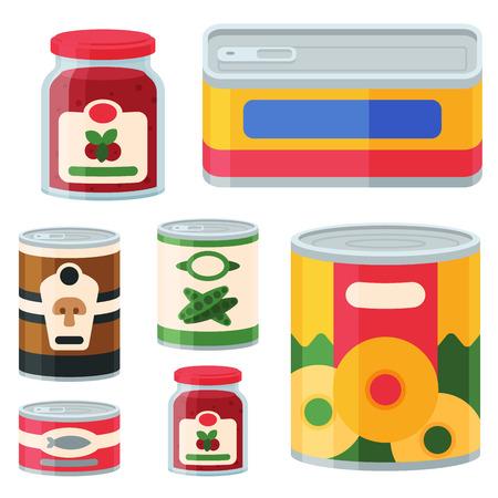 La colección de alimentos enlatados de varias latas conservan la nutrición y el ejemplo del vector del envase de cristal. Productos de la tienda de comestibles envases metálicos comestibles vegetales.