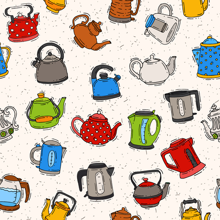 Teapot and kettle vector teakettle to drink tea on teatime and boiled coffee beverage in electric boiler in kitchen illustration kitchenware set seamless pattern background.