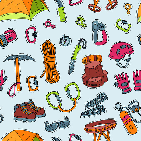 Climbing vector climbers equipment helmet carabiner and axe to climb in mountains illustration sot of mountaineering or alpinism tools for mountaineers seamless pattern background.