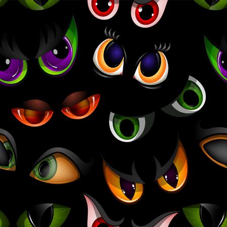 Karikaturvektor mustert Tierteufel-Monstertieraugenbälle der schlechten Augenbraue und der Wimpern der verärgerten oder furchtsamen Ausdrücke auf Gesicht erschrockenem nahtlosem Musterhintergrund der Schlange oder des Dracula-Vampirstier-Sehvermögens.