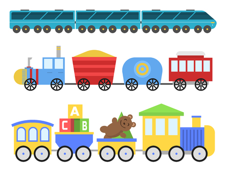 Cartoon toy train vector railroad and cartoon carriage game fun leisure joy gift locomotive transportation.