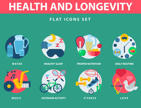 Health and longevity icons modern activity durability vector natural healthy life product food nutrition illustration. Çizim
