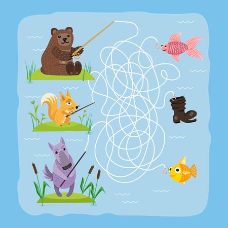 Jeu de labyrinthe enfants cerveau formation éducation énigme puzzle avec animaux façon emmêlée route imprimable fond illustration vectorielle.