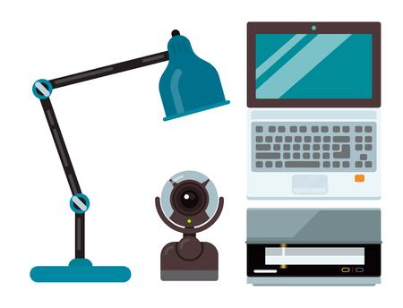 Computer office equipment technic gadgets modern workplace communication device laptop monitor printer keyboard camera vector illustration. Stock Illustratie