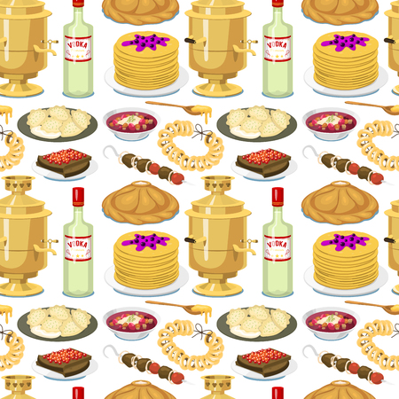 Traditionelle russische Küche nahtlose Muster Hintergrund Kultur Gericht Essen Text Mahlzeit zu Spanien Gourmet Mahlzeit nationale Vektor-Illustration Standard-Bild - 96094522