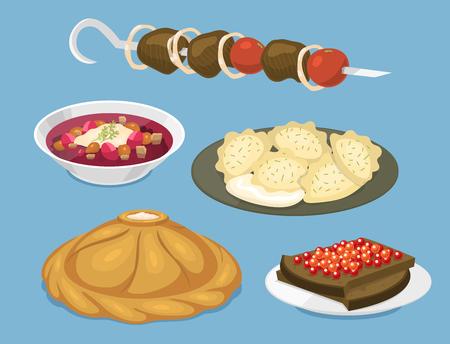 伝統的なロシア料理文化料理コースは、ロシアのグルメ国民食ベクターイラストへようこそ。
